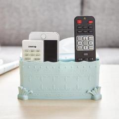 洛哈思欧式雕花带手机架双格收纳盒 纸巾盒--蓝色
