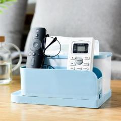 带笔架桌面纸巾盒  化妆品整理收纳抽纸盒--北欧蓝 生活实用礼品