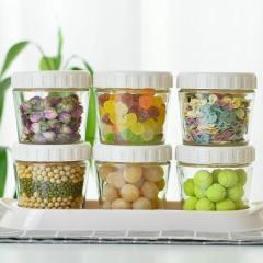 可叠加食品储物玻璃密封罐 积木式零食罐三件套--三色混色 家具礼品