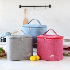 大容量手提牛津布便当保温包 三层加厚铝箔内胆保温饭盒袋--浅咖色 又大又便宜的活动礼品