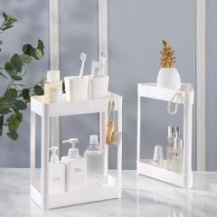 长方形双层化妆品置物架 台面整理调料收纳架--白色