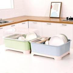 透明盖餐具碗筷收纳架 防尘沥水碗碟架--蓝色
