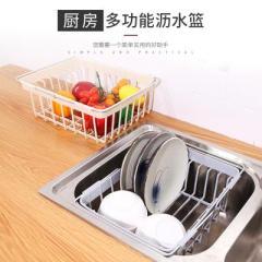 下架 可伸缩水槽碗架餐具收纳架 沥水果蔬洗菜篮--卡其色