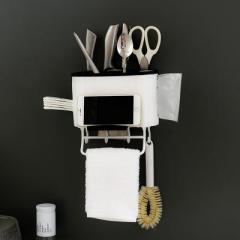 壁挂式餐具勺子筷子沥水收纳架 带挂钩抹布架刀架--粉色