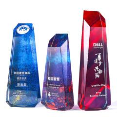 绚丽荣誉水晶奖杯 新款不规则切割奖座 创意周年庆年会礼品
