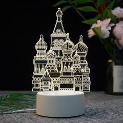 【城堡】亚克力3D小夜灯 ABS环保底座 七种彩色灯随意变换 公司有创意的礼物