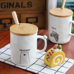 日式带盖带勺创意zakka陶瓷杯 可爱动物牛奶咖啡早餐杯 招商会小礼品