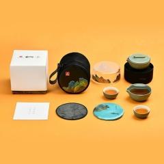 【千里江山】宫廷文化便捷茶具套装 一壶两杯 适合商务送礼的礼品