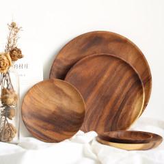 相思木點心碟子 實木圓形碟 無漆水果盤 蛋糕碟 木質小碟子 質感小禮品定制