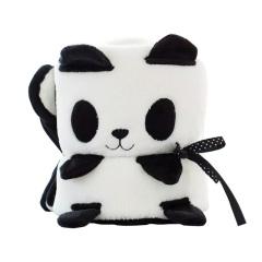 【熊猫】款卡通动物 小毛毯 午休毛毯 空调毯 创意儿童卷毯 员工礼品 儿童节小学生礼物