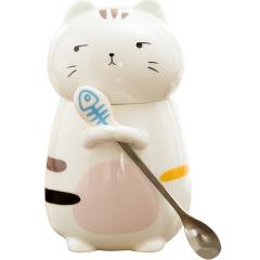 萌萌立体动物猫咪可爱陶瓷水杯带盖勺咖啡杯 公司员工活动奖品