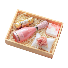 粉嫩少女心精美创意伴手礼盒 装饰花+起泡酒 七夕公司送什么礼物最好