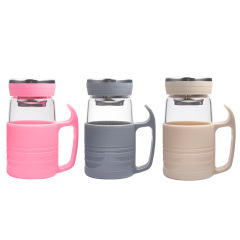 透明提手办公商务高硼硅玻璃杯大肚花茶杯 团建礼品送什么