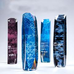 世纪魔方立体水晶 立体彩印不对称切割奖座 创意周年庆年会礼品