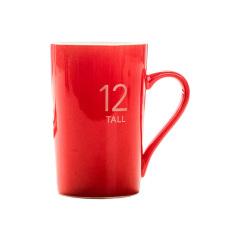 马克杯定制 广告杯 咖啡杯 茶杯 陶瓷水杯(12号亮光红)380ML 员工纪念奖品