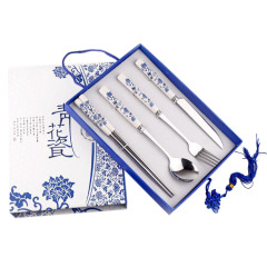青花瓷餐具礼盒四件套 刀叉筷勺四件套礼盒装 活动送小礼品清单