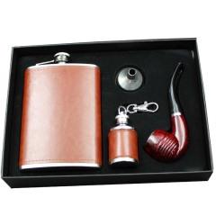 欧式酒壶 9盎司不锈钢酒壶+烟斗礼盒套装 送给客户的创意礼品