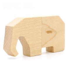 U盤定制 創意竹木U盤 可愛動物U盤 卡通大象優盤 創意禮品 游戲展獎品