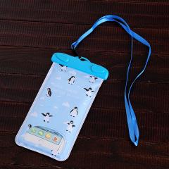 可爱小清新游泳透明防水手机袋 触屏挂脖海边潜水套水下拍照通用