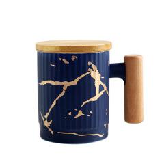 北欧风大理石纹带盖木柄商务办公室简约陶瓷杯    个性礼品