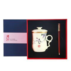 【同心】商务创意礼品两件套 同心杯+红木笔礼盒 适合商务送礼的礼品