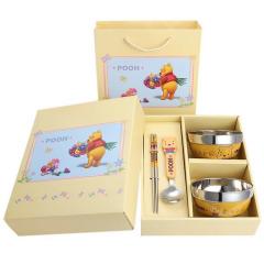Winnie维尼小熊四件套 欢乐儿童不锈钢餐具礼盒套装 环保餐具礼品定制 儿童节礼物