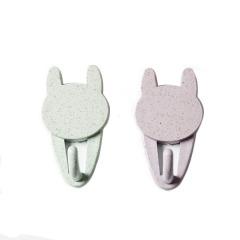 【兔耳朵】款小麦秸秆塑料秆挂钩 2个装粘贴式无痕挂钩 促销活动礼品