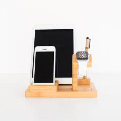 创意多功能竹制支架 楠竹桌面手机充电置物架 手机平板充电座 客户礼品 特色年会礼品