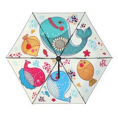 【多彩鱼】easily 超可爱卡通五折黑胶伞 超轻防紫外线遮阳伞 折叠口袋伞礼盒装 创意小礼品