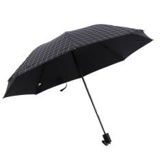 格子太阳伞 黑胶三折晴雨伞 商务礼品