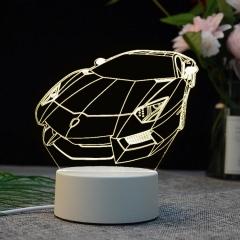 【跑车】亚克力3D小夜灯 ABS环保底座 七种彩色灯随意变换 4s店礼品定制