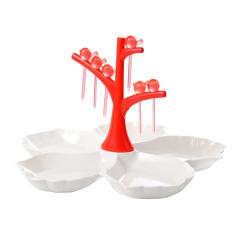 簡約花朵造型白色果盤配小鳥造型水果叉分格果盤 展會現場禮品