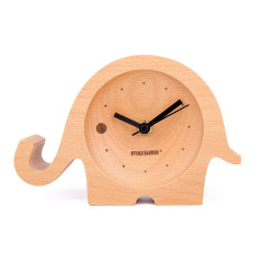 MUSOR 小象卡通桌面時鐘 多功能創意櫸木時鐘桌面擺件 做活動送什么禮品