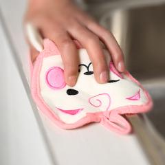 可爱卡通加厚挂式擦手巾--粉猫 精美创意礼品