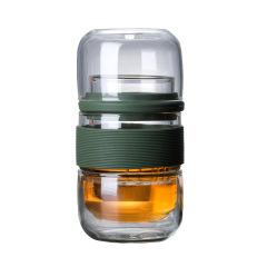 旅行玻璃茶具套装 玻璃快客杯便携装 手工吹制高硼硅玻璃茶具一壶二杯 商务礼品