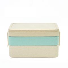 小麦长方形饭盒 便当盒餐具套装 三层--北欧蓝