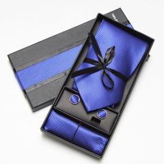 提花领带礼盒套装 领带+袖扣+口袋巾 有型舒适不易变形 小礼品商务