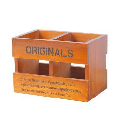 实木三格笔筒 复古设计 桌面摆件