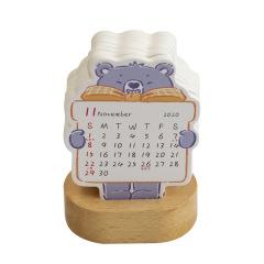 2020年插卡式台历 小可爱迷你动物台历 实木底座趣味小台历 创意小礼品