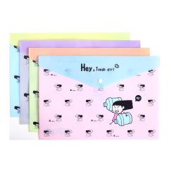 得力(deli)可爱女汉子图案文件袋 卡通单层按扣袋 创意商务礼品