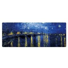 【星夜】精美设计梵高油画大号鼠标垫 有个性的艺术风格 精密锁边