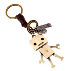 小叉合金機器人 純手工牛皮編織鑰匙扣掛飾 醫學展會上發什么禮品好
