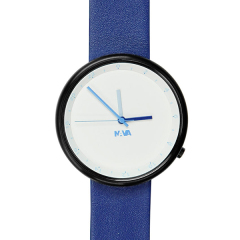 意大利进口 NAVA Wherever时尚概念真皮表链手表  双时针腕表