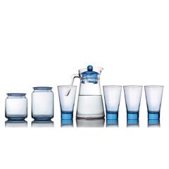 乐美雅(Luminarc)凝彩清莹水具储物7件套 一壶两罐四杯装LC-Y60