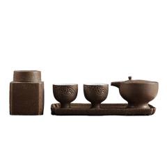 【山水行云-浮云游】旅行茶具套裝五件套 復古手工黑陶茶道禮品定制