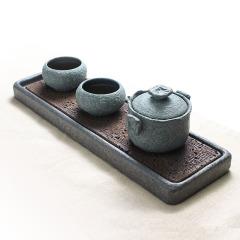 一壶二杯+干泡台 石雕艺术茶具礼品套装 给领导送什么礼品好