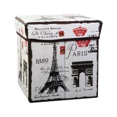 复古风正方形带盖折叠收纳凳储物箱 换鞋凳收纳箱--铁塔 15块钱左右的实惠礼品