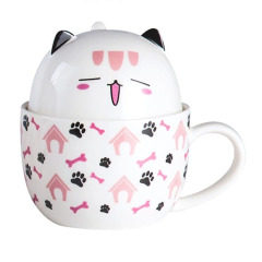 【F款】早餐下午茶陶瓷杯 杯子杯蓋兩用可放零食 馬克杯高溫烤花安全健康 春天創意禮品