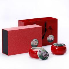 【福運連連】清新淡雅貼花茶葉雙罐半斤裝儲茶罐 客戶回饋 獎品