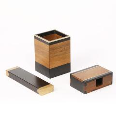 雅集方笔筒单镇名片盒  三件套装 创意商务礼品